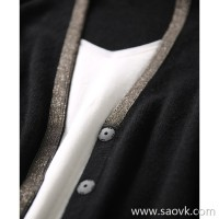 [ZY158545AG] M home used pearl chain, shiny body! Two-pocket cashmere knit cardigan