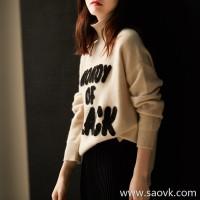 の[ZY119622AL]笑涵阁 contrast color letter terry cotton embroidered high collar long-sleeved wool rabbit fur sweater