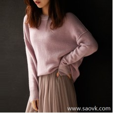 [ZY119581AL] Xiaohan Pavilion Put on a soft girl! Double-layer collar loose slim cashmere sweater