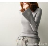 の[W565139] Xiaohange Worsted 18-Pin Full-Shaped Chao Fine Wool High-necked T-Shirt Knit