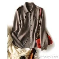 α[ZY158674AG] 笑涵阁 Fashion British style ~ gold and silver inlaid wool tooling cardigan coat