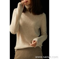 の[ZY158624VG] 笑涵阁 High-grade cashmere simple lazy natural curling high-neck long-sleeved sweater