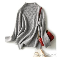 の[W564844] 笑涵阁 Warm and versatile accented cross-stitched shoulder wool and cashmere sweater