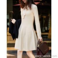 の[W565218]笑涵阁 16-pin Yangtze yarn gold and silver silk inlaid neckline lace wool knit dress