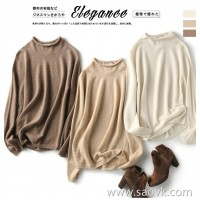 の[A563910] 笑涵阁 Warm three-color Full-form seamless one-piece cashmere half-neck sweater