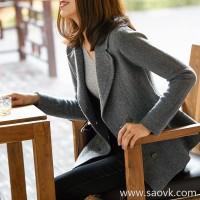 の[W565210]笑涵阁 Exquisite double row copper buckle Bee waist slim lapel wool cashmere knit suit