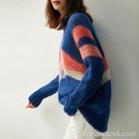 の[ZY158615AG] Ambilight soft if cloud color air! Mohair round neck knit sweater