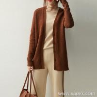 の[A564101] 笑涵阁 慵 lazy life V-neck single-breasted wool yak velvet knit cardigan