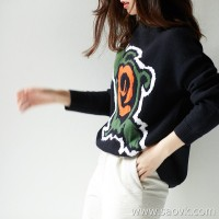 の[A566279] 笑涵阁 Contrast color jacquard German Yangtze yarn full wool round neck knit sweater