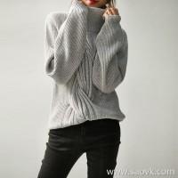 の[W565064]笑涵阁厚实软糯 Pure cashmere twisted high collar lantern sleeves sweater sweater