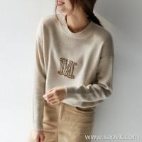 の[ZY158603AG]笑涵阁 French style luxury breathable cashmere drop shoulder round neck large M sweater pullover