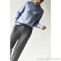 の[ZY158593VG] 笑涵阁 Elegant rolled side half-high collar Dropped shoulder full wool irregular sweater