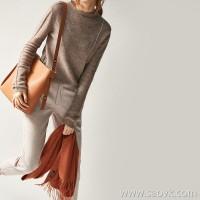 の[ZY158640AG] Xiaohan Pavilion Vertical tensile curve! Rolled neckline wool yak velvet sweater