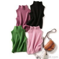 の[ZY158801VG]笑涵阁 Professional female hipster bi preparation Half-necked solid color cashmere knit vest