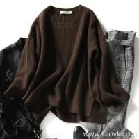 の[ZY158614VG] 笑涵阁 Soft and beautiful lazy stitching split bell sleeves 牦 绒 wool needle pullover
