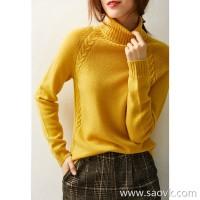 の[W565150] Laughing Hange set simple, stylish and comfortable! Stranded full wool turtleneck sweater