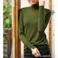 の[ZY158831AG]笑涵阁 Fine 16-pin Classic wear high-low swing High-neck wool sweater