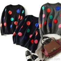 の[C333930] 笑涵阁 contrast color fashion patch drop shoulder round neck loose sweater