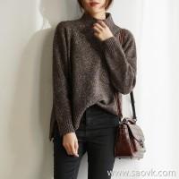 の[ZY117645VL]笑涵阁 irregular thickening front pocket half-high collar flower with wool knitted sweater