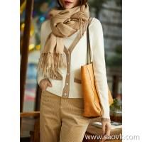 の[ ] 笑涵阁 Elegant small fragrance soft 糯 pure cashmere glitter on the low V-neck cardigan