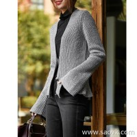 の[ZY158559VG] Laughing Han Pavilion is very tall, fishtail hem, silver silk shiny wool thick cardigan coat