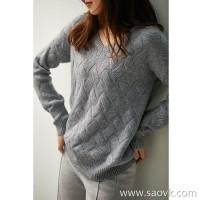の[ZY158553AG]笑涵阁 warm and versatile tone wool and cashmere A orchid drop shoulder sweater