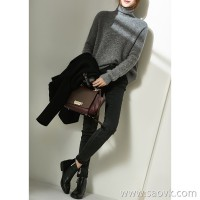 α[ZY158847VG]笑涵阁 Customized yarn series 篙 grade gray wool alpaca high collar sweater