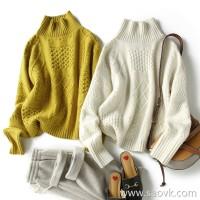 の[ZY158808VG]笑涵阁 slim big sweater gentle color twisted pure cashmere half turtleneck sweater