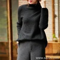 の[ZY158843VG] Stylish and effortless, staggered hem, wool yarn, loose and slim sweater