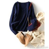 の[ZY158772VG] Laughing Hange Mysterious Eskimo V-necked Shoulder Sleeve Wool Alpaca Sweater