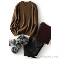 の[ZY121126VG] Laughing Hange men's taste classic high quality yak velvet series V-neck sweater