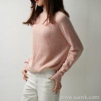 の[ZY119582AL] Xiaohan Pavilion relies on the value of Yan! Gold-plated ~ neckline curled cashmere pullover