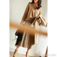 の[ZQ158826VG] 笑涵阁 Simple English Vintage Threading Full Wool Knit Skirt