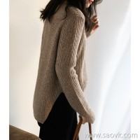 の[ZY158647VG] cotton soft! Yak wool, irregular hem, round neck sweater