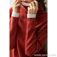 の[ZY158716VG] 笑涵阁 Color layering! Rolled pile collar full wool knit pullover