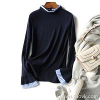の[ZY158135AG] Xiaohange College wind neckline fungus lace woollen sleeves knit pullover