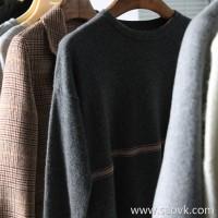 α[ZY158840VG] 笑涵阁 upgrade clothing grade 的 grade color ~ bead chain decorated pure cashmere round neck pullover