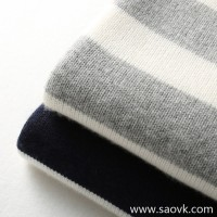 の[A564005] 笑涵阁 Easy casual French casual Contrast striped wool and cashmere sweater
