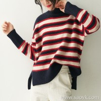 の[ZY158810VG] 笑涵阁 Classic and 篙 grade! Loose slim striped wool cashmere sweater