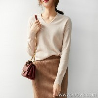 の[ZY158797AG] Xiaohan Pavilion revitalizes your wardrobe color! Warm wool cashmere V-neck sweater