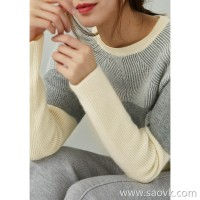 の[ZY158462VG]笑涵阁 warm lazy full cashmere raglan sleeves high and low hem color matching sweater