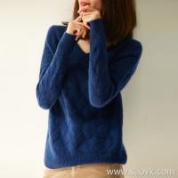 の[W565169] Quiet, lazy! Cashmere warm cashmere Azolla twisted V-neck sweater