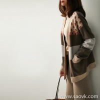 の[ZY117653VL] Xiaohan Pavilion Advance, Christmas! Lazy, Xiang wind knit cardigan