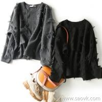 の[ZY158702VG] 笑涵阁 Love bursting! Special napping process, fashionable round neck, knit