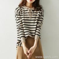 の[ZY158830AG] 笑涵阁 Stylish without shortage of temperature Apricot stripes Warm cashmere hooded top
