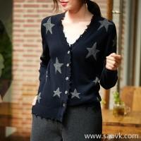 の[ZY158703AG]笑涵阁 Very French! BI into! Tassel five-pointed star wool cashmere knit cardigan