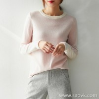 の[ZY158643AG] 笑涵阁 Fresh look soft 糯 warm double-layer collar color matching cashmere sweater