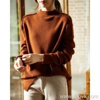 の[ZY158715AG]笑涵阁衣衣bi ready just off the shoulder button high and low hem wool sweater