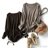 の[ZY158745VG] 笑涵阁 Undyed velvet feel yak wool wool Drawstring lace-up sweater
