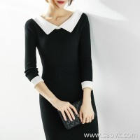 [ZQ158781AG ] Xiao Han Ge Hepburn's little elegance Large lapel slim knit dress